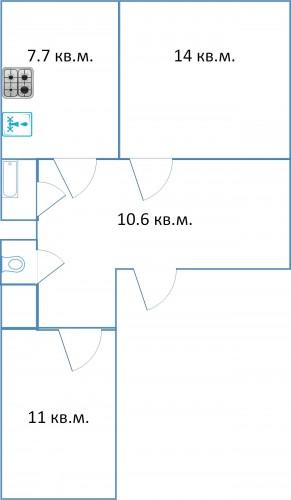 21 двухкомнатная квартира